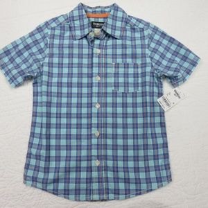 OshKosh Sz6 Button Down Plaid Short Sleeve Shirt